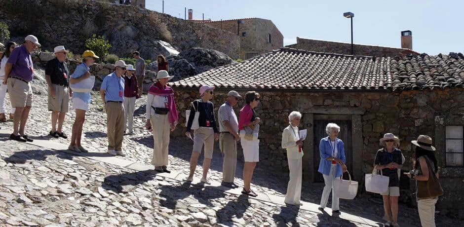 Touring the restored hilltop fortress of Castelo Rodriguo, which dates back to Roman times. Photo courtesy of Miguel Ribeiro Fernandes/Alexandre Vaz.