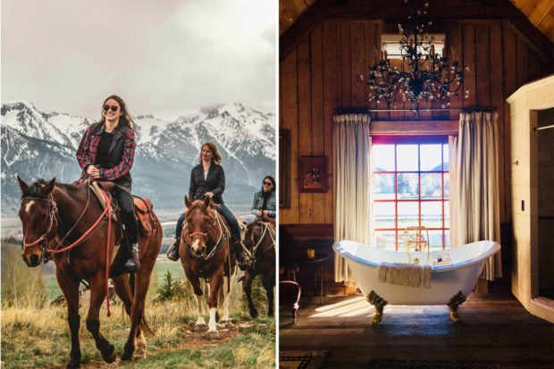 From left: Trip Designer Kial Church horseback riding in Jackson Hole, Wyoming; an indulgent bathroom at the Ranch at Rock Creek in Montana