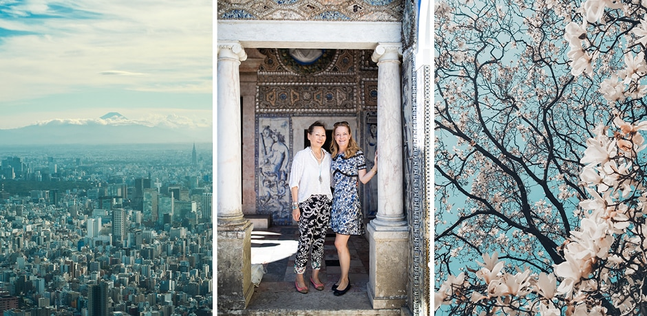 AD contributing editor Gay Gassmann (center image; left) will co-host the AD x Indagare Insider Journey to Tokyo this spring with Indagare Founder Melissa Biggs Bradley (center image; right).