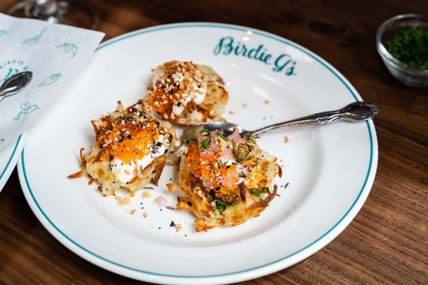 Caviar with potato waffles at Birdie G's, Courtesy Jim Sullivan