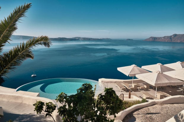 The infinity pool at Mystique, in Santorini. Courtesy Mystique, a Luxury Collection Resort