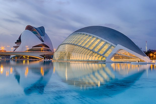 Calatrava's City of Arts and Sciences in Valencia. Courtesy Zebbache Djoubair