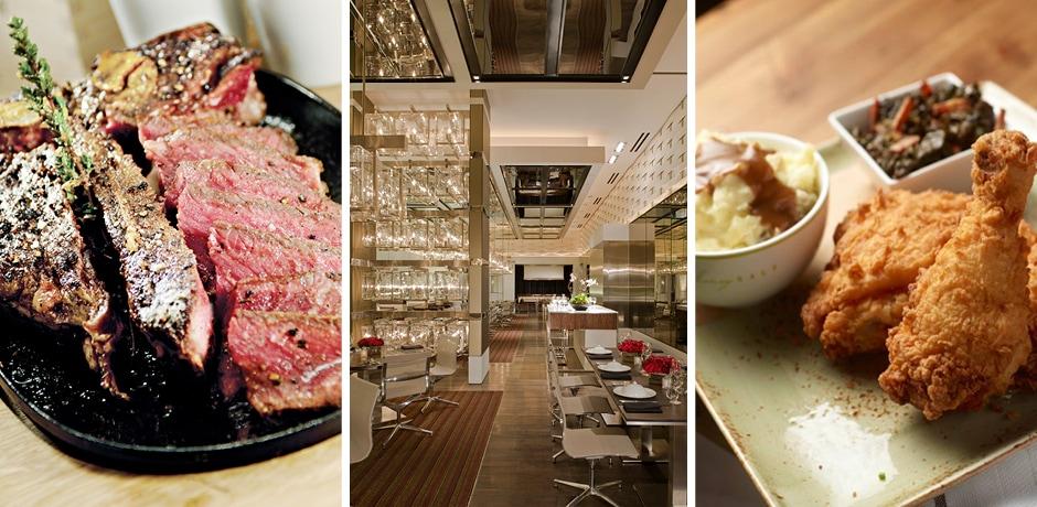 A steak at CUT, courtesy John Ormond; the dining room at CUT, courtesy Jeffrey Green; fried chicken at Honey Salt, courtesy Honey Salt
