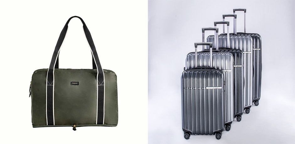 A fold-up soft-sided bag from Paravel, courtesy Paravel; hard-sided suitcases (right).