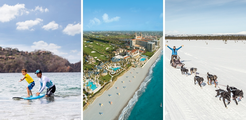Surfing in Costa Rica, Courtesy Four Seasons Peninsula Papagayo; the beach at The Breakers, Courtesy The Breakers, Palm Beach; dog-sledding in the Swedish Lapland, Courtesy Fjellborg Arctic Lodge