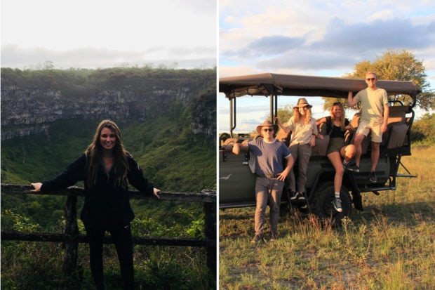 From left: Trip Designer Lexi Rieck Polster in the Galápagos; Trip Designers Ried, Julia, Natalie and Sam scouting in Botswana in February