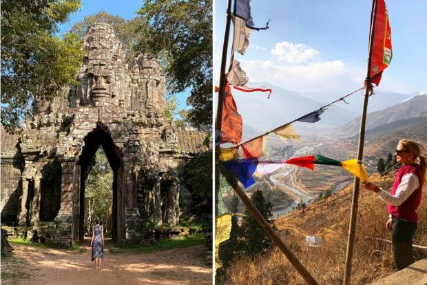 From left: Entering the city of Angkor Thom, Cambodia; Indagare Trip Designer Caroline Hansen hiking to Tiger's Nest in Bhutan