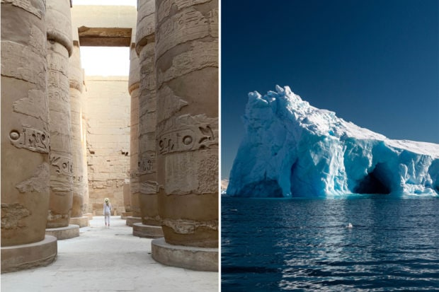 From left: Trip Designer Phoebe Laughlin scouting in Egypt; an iceberg in Mikkelsen Harbor, Antarctica, photographed by Indagare's Colin Heinrich