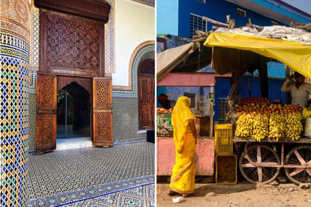 From left: Moroccan mosaics in Marrakech; A woman shopping for groceries in rural Rajasthan, photographed by Indagare's Elise Bronzo