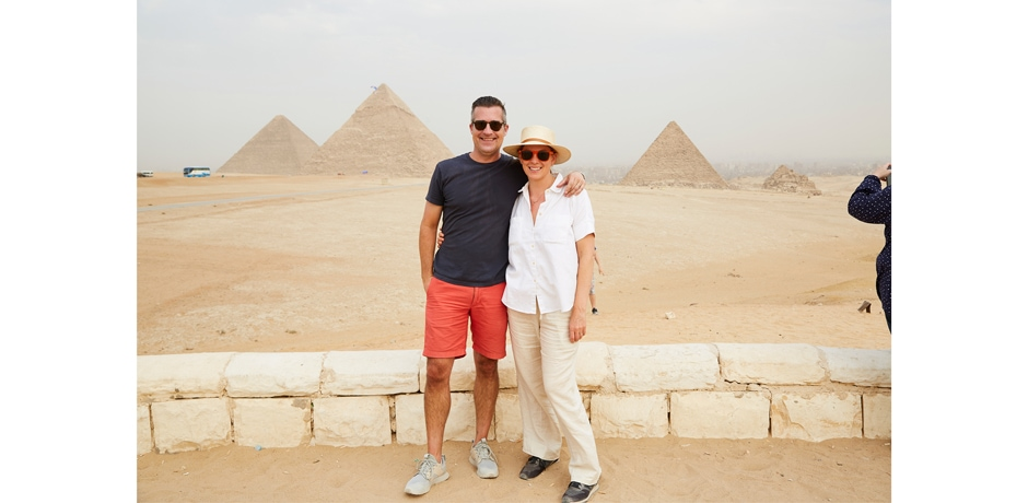 """""""This was a special moment. Melissa [Biggs Bradley] had told us that now is an amazing time to visit Egypt because the level of tourism is not very high, so the crowds of the past are no longer an issue. This picture shows that pretty well! We were able to take in the energy of the place without the craziness that crowds bring. You can also see some parachuters floating down from the sky in the background, which our guide said he had never seen before. It was magical—a surreal addition to a surreal experience."""""""