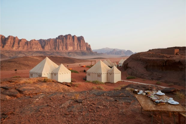 A view of the desert camp in Wadi Rum