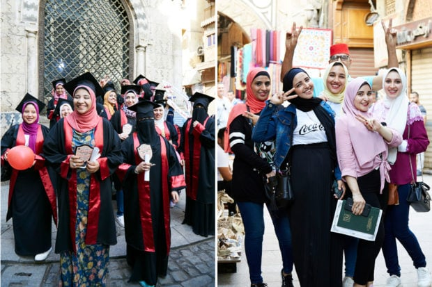 """""""I didn't know what to expect in Egypt. I was so impressed by how often I ran into women on the street who wanted their picture taken and wanted to connect with me. Walking through the Medina in Cairo, we came upon these women celebrating their school graduation. They were jubilant—and so proud! They absolutely wanted to say hello to me and have their photo taken. I could tell that this was a big moment for them; their energy was incredible."""""""