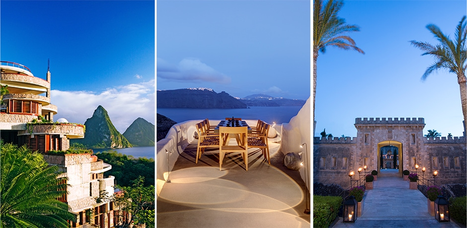The best resorts for a kid-free getaway. Courtesy, from left: St. Lucia's Jade Mountain; Santorini's Mystique, a Luxury Collection Hotel; Cap Rocat in Mallorca.