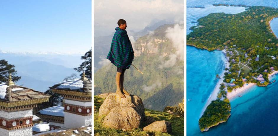 From left: Snow-covered temple in Bhutan, Courtesy Indagare; Mountain views in Ethiopia, Courtesy Indagare; Aerial of Azura Bengerra Island in Mozambique