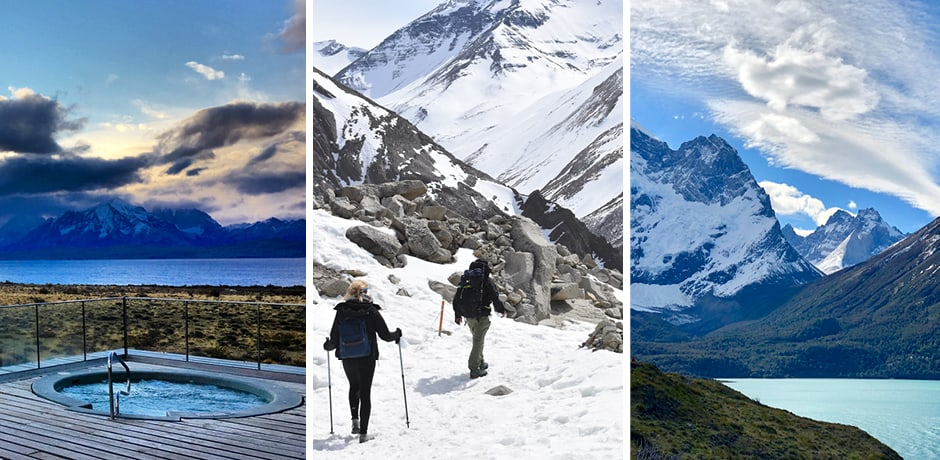 Tierra Patagonia's outdoor hot tub; Hiking the snowcapped mountains of Torres Del Paine National Park; the dramatic mountains of Patagonia. Courtesy Indagare