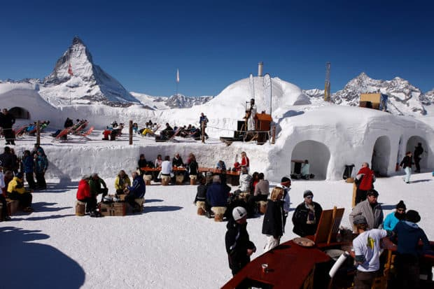 Open to the ski crowd in the day, Iglu Dorf Zermatt is a private enclave with the best view of the Matterhorn come nightfall. Courtesy iglu-dorf.com
