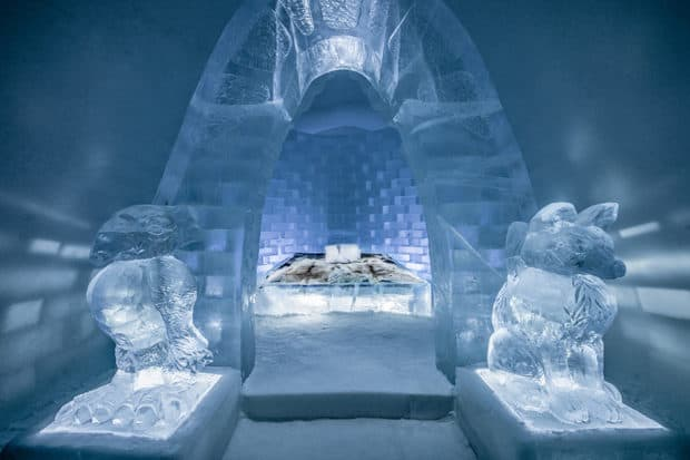 Artists Jonas Johansson, Jordi Claramunt and Lukas Petko designed this Icehotel suite. Photo by Asaf Kliger courtesy Icehotel.