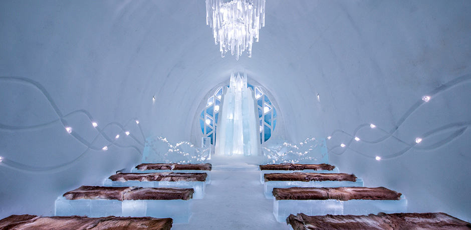 The ceremonies hall at Icehotel, in Swedish Lapland. Photo by Asaf Kliger courtesy Icehotel