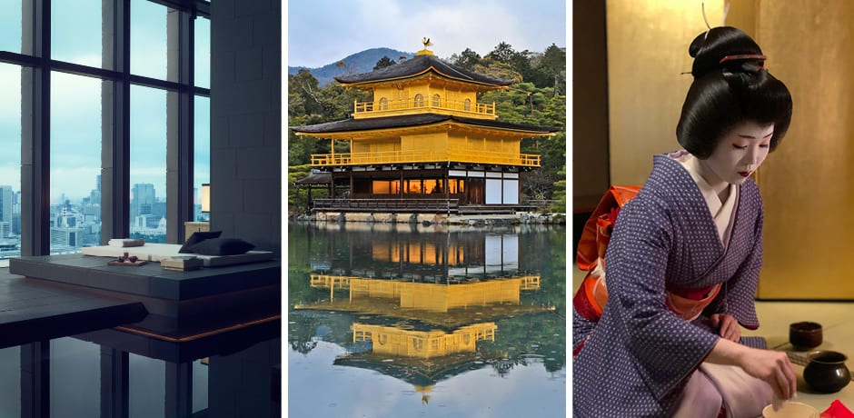 The swimming pool at the Aman Tokyo, Courtesy Aman Tokyo; the Golden Pavilion in Kyoto; a geisha making matcha in Kyoto