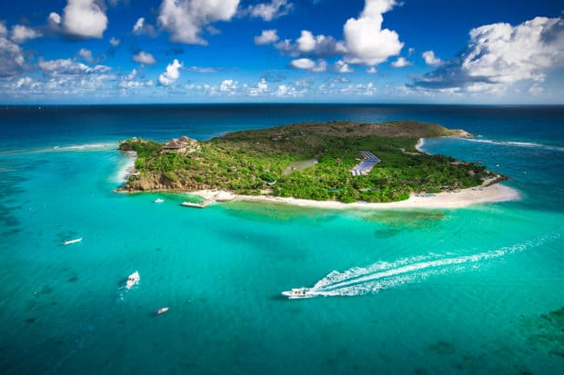 An aerial view of Richard Branson's Necker Island in the British Virgin Islands, Courtesy Necker Island