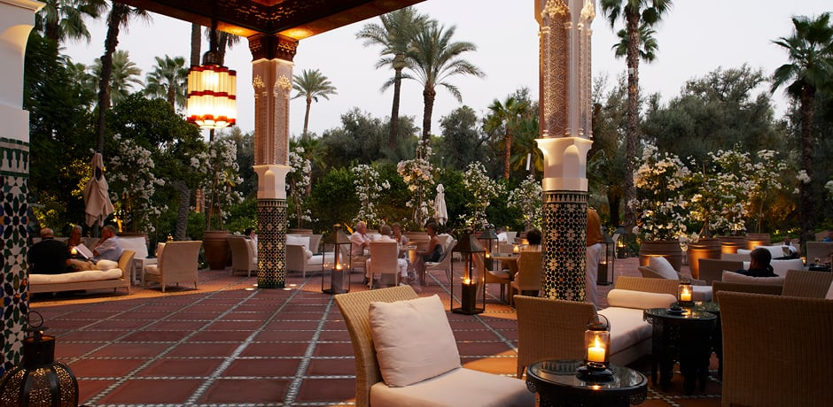 The buzzy courtyard of La Mamounia in Marrakech, Morocco is perfect for a sunset cocktail.