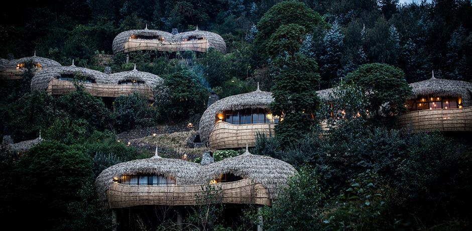 The design-forward lodge suites at Bisate Lodge in Rwanda.
