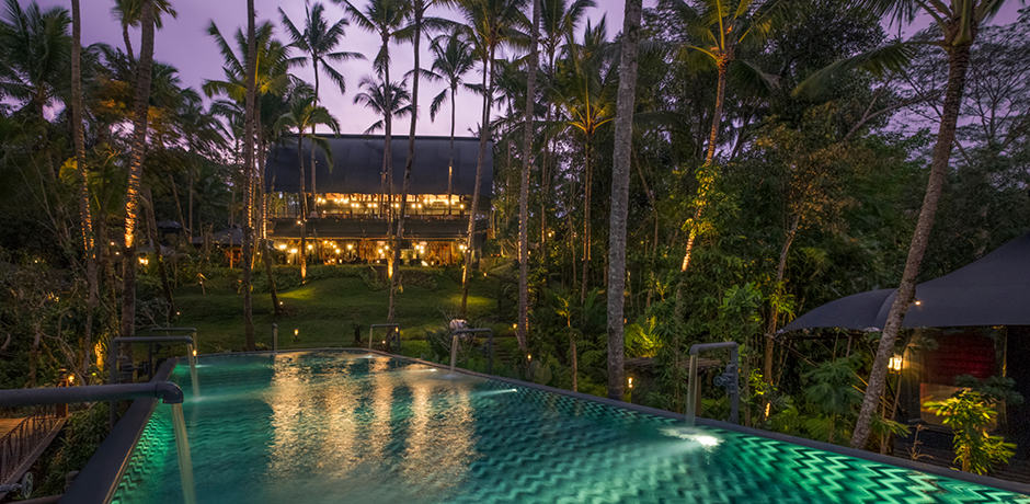 The pool at the Capella Ubud in Bali, Indonesia.