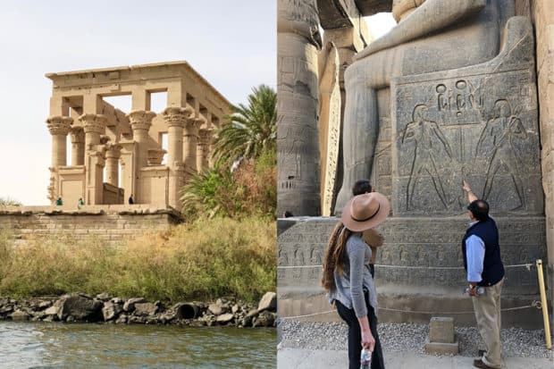 View of the Philae Temple from the Nile River in Aswan; a guide explains a hieroglyphic at the Karnak Temple in Luxor