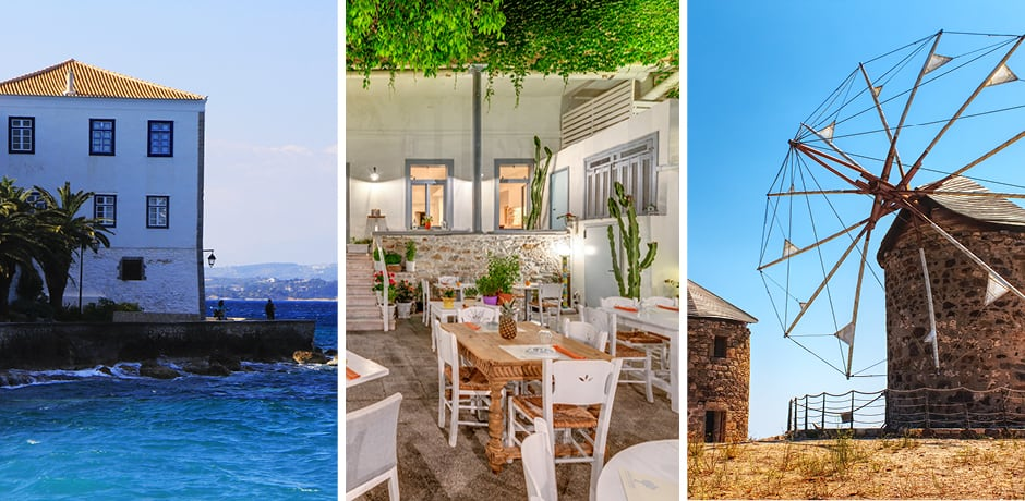 Spetses, Courtesy Eleni Afiontzi; Courtesy Avant Garden Restaurant, Syros; Patmos, Courtesy Lorenzo Spoleti