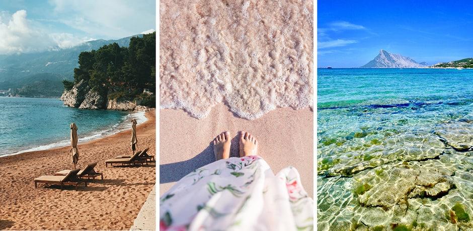 Sveti Stefan, Courtesy Elen Yatsenko; Elafonisi Beach, Courtesy Tabea Damm; Tavolara, Courtesy Massimo Virgilio