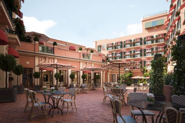 The courtyard at the Hotel de la Ville, Courtesy Hotel de la Ville, Rome