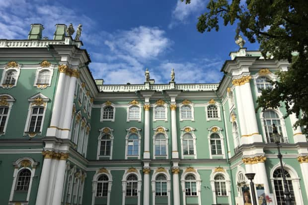 The minty-green exterior of the Hermitage, where travelers on our October Insider Journey will be able to explore after hours with an expert guide, with the chance to see the winding of the famous Peacock Clock. Plus, we'll have access to the private storage chambers, a treasure trove of Imperial items that is not open to the public.