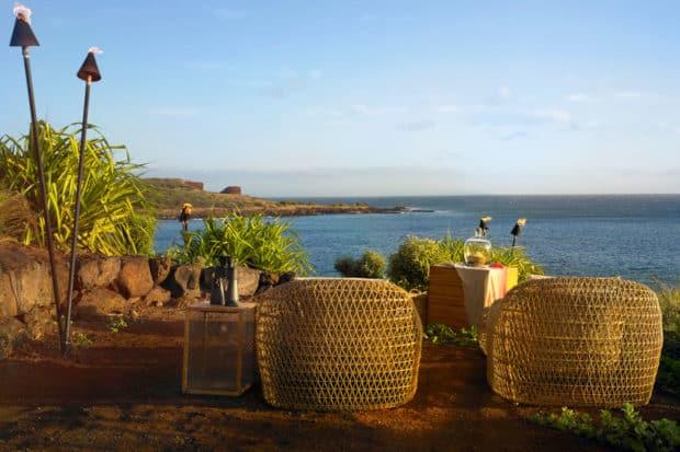 Seating for two on Lanai. Courtesy Four Seasons Resort Lanai, Hawaii