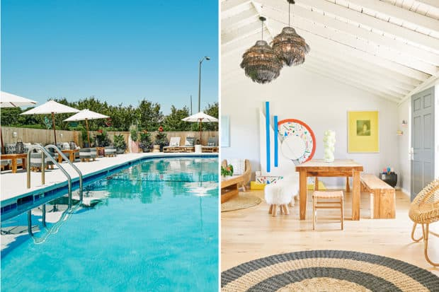 The pool and a living room at the Hero Beach Club in Montauk, New York.