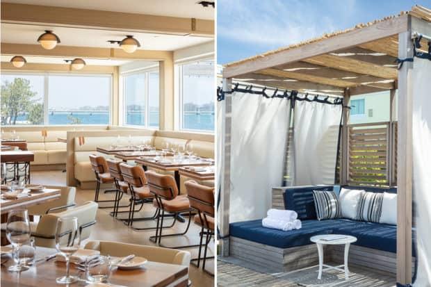 The Scarpetta restaurant and a pool cabana at Gurney's Newport, Rhode Island.