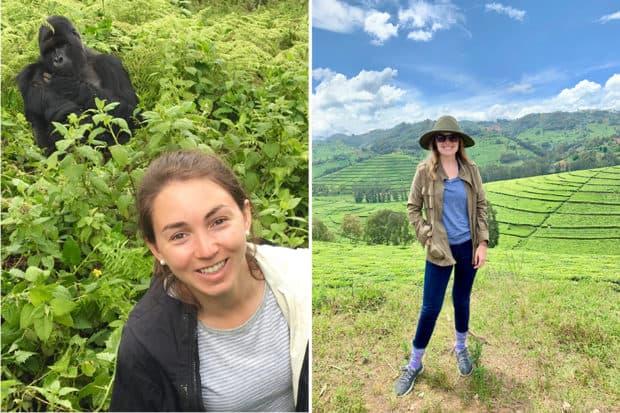 Associate Membership Manager Mary Elizabeth Moore trekking to see the gorillas in Rwanda (left); Trip Designer Avery Carmichael scouting in Rwanda at Magashi Camp (right).