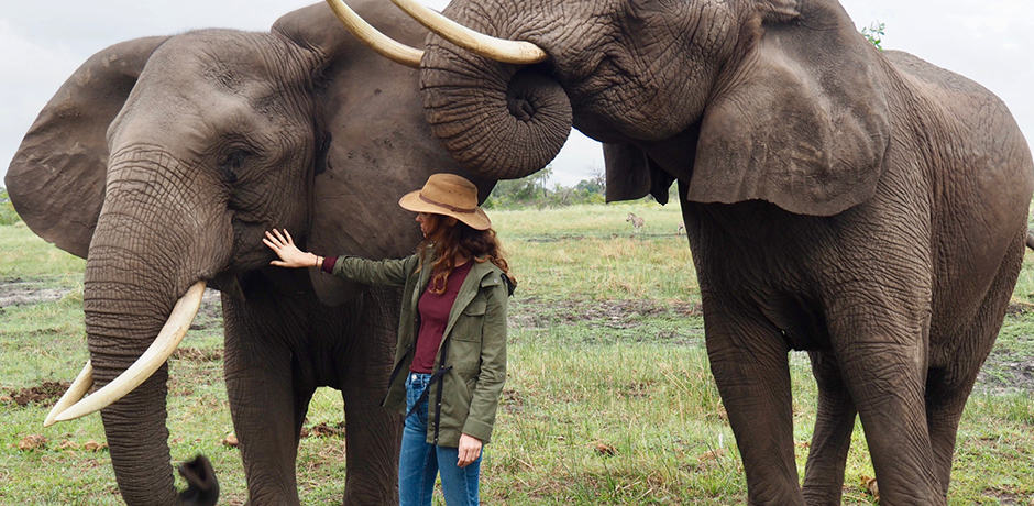 Operations Manager Rose Allen meeting elephants at Abu Camp while scouting in Botswana.