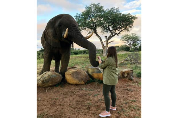 Trip Designer Gabrielle DuCharme meeting an elephant while scouting in South Africa.