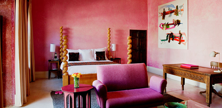 A suite at Riad El Fenn, one of the sites included on the Insider Journey to Marrakech itinerary, hosted in 2019 by Mitch Owens (May) and Gay Gassmann (October). Photo by Joanna Vestey.