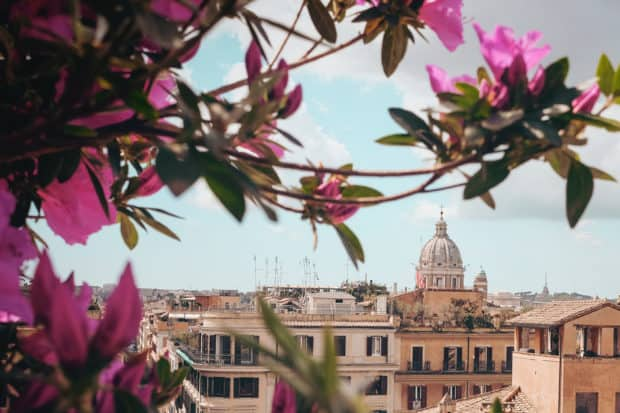A view from a private rooftop in Rome, Italy.