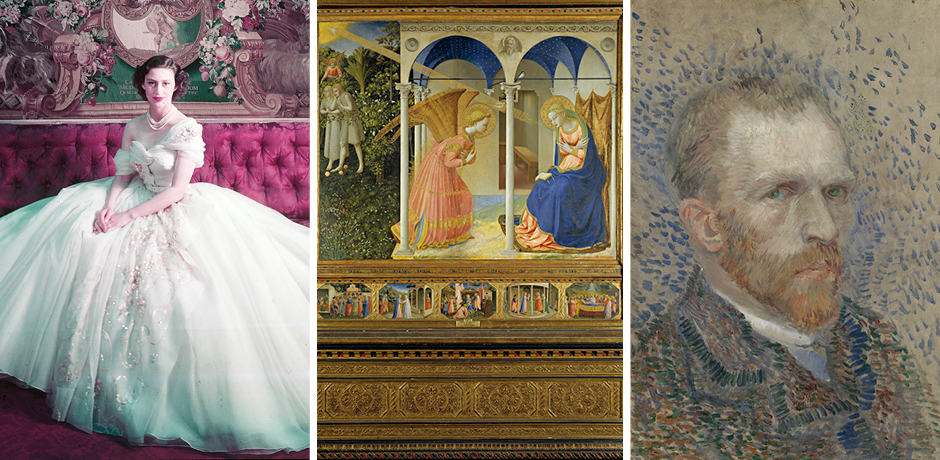 Royal Portrait of Princess Margaret on her 21st birthday Photograph by Cecil Beaton (1904–1980) © Victoria and Albert Museum, London; The Annunciation, Fra Angelico. Oil on panel, 194 x 194 cm, h. 1426. Madrid, Museo Nacional del Prado; Vincent van Gogh, Self-Portrait, March–June 1887, oil on cardboard, Van Gogh Museum, Amsterdam (Vincent van Gogh Foundation)