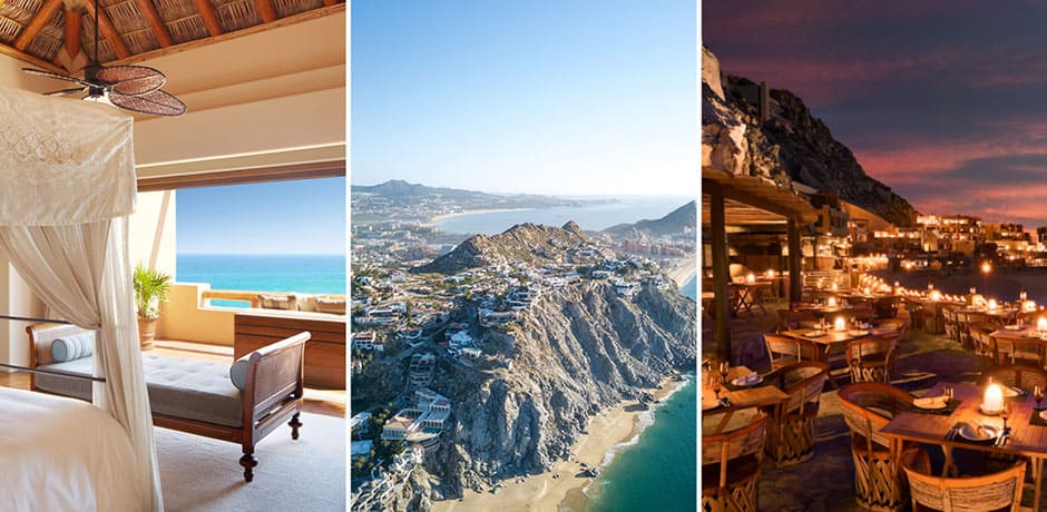 Left: Esperanza Resort; Center: a stretch of beach in Cabo; Right: Resort at Pedregal
