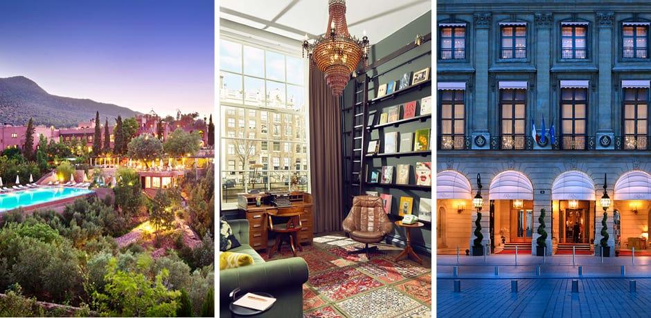 Courtesy Kasbah Tamadot; Hotel Pulitzer Amsterdam; Ritz Paris
