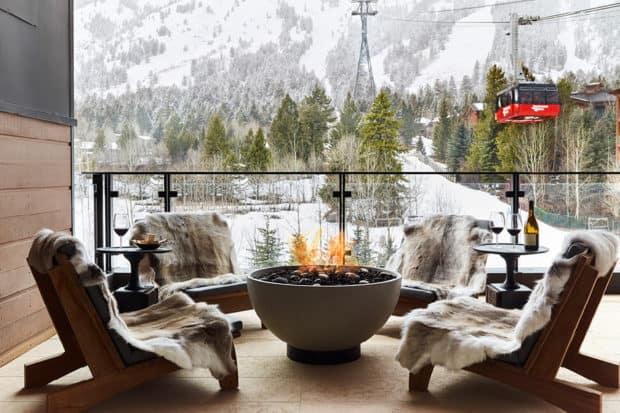 A fireside view at Caldera House, Jackson Hole.