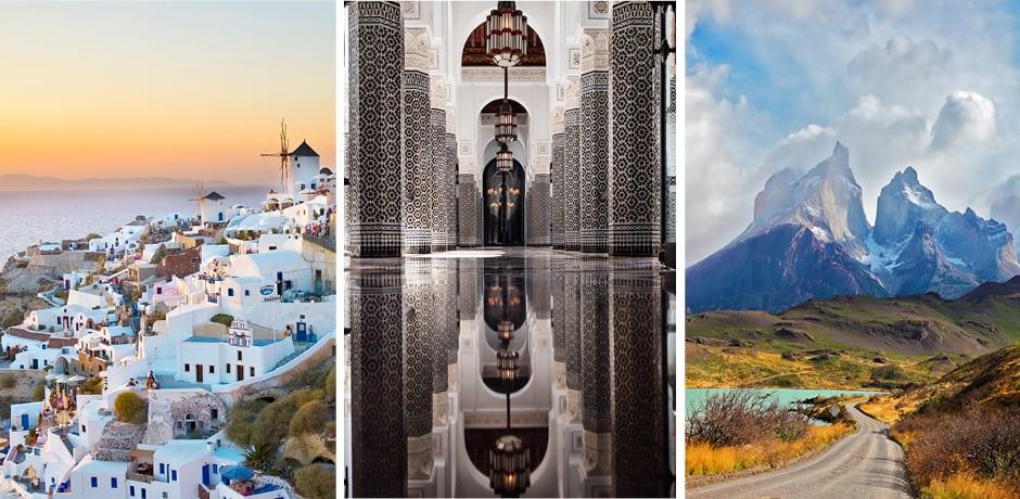 Santorini, Greece; Marrakech, Courtesy La Mamounia; Patagonia, Chile