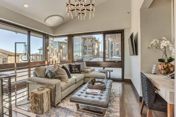 A living room in the Stein Eriksen residences. Courtesy Stein Eriksen, Colorado