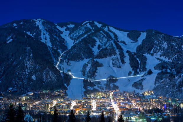 A view of Aspen at night. Courtesy The Little Nell