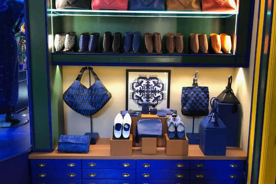 Purses and shoes at the Majorelle Boutique in Morocco