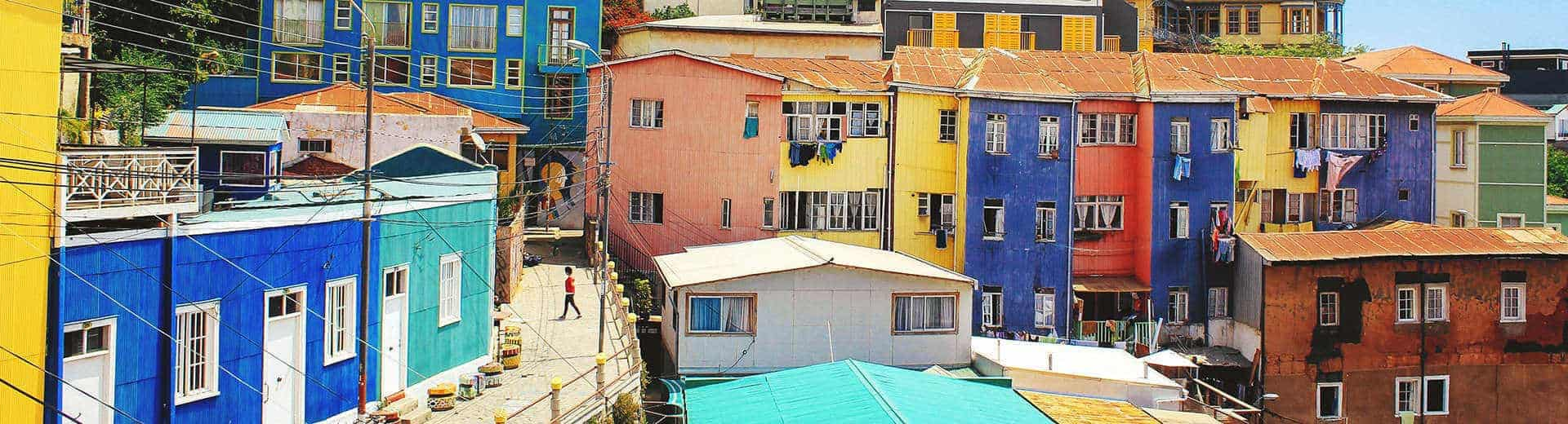 Colorful buildings in Santiago, Chile