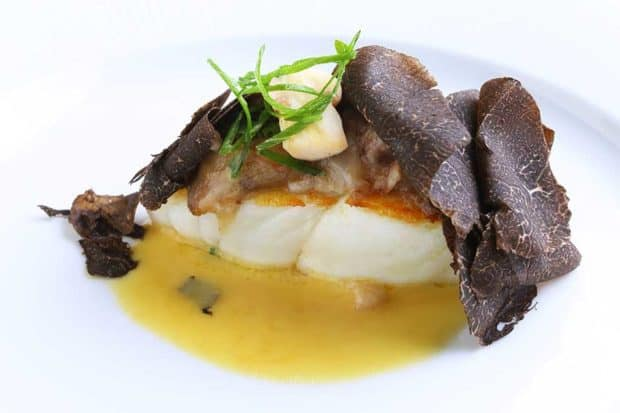 Turbot with truffles at Le Clarence